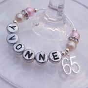 65th Birthday Personalised Wine Glass Charm - Elegance Style